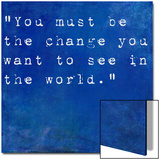 Inspirational Quote By Mahatma Ghandi On Earthy Blue Background