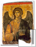 An Icon with the Image of the Archangel St Michael Holding a Staff and a Globe Surmounted by the