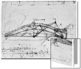 Design for a Parabolic Swing Bridge, 1480-1490 Acrylique par Leonardo Da Vinci
