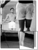 Boxer Muhammad Ali Jumping Rope While Watching Himself in Mirror During Training for His Fight