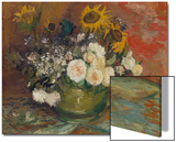 Sunflowers  Roses and Other Flowers in a Bowl  1886