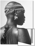 Shilluk Tribe Girl Wearing Decorative Beaded Head Gear in Sudd Region of the Upper Nile  Sudan
