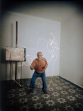 Artist Pablo Picasso Attempting to Draw a Minotaur Using Light Pen  Vallauris  France  1949