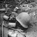 Human Skull  an Army Helmet  and Canned Food by the Side of the Ledo Road  Burma  July 1944