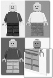 Lego Minifigure Man Quad Black White Pop-Art Poster