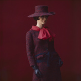 Model Dressed in a Matching Tweed Hat  Jacket  and Skirt by Yves St Laurent  Paris  France  1962