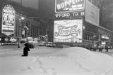 Pedestrians Walking Through Heavy Snow at Night in New York City  December 26-27  1947
