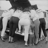 "All-Girl ""Dragettes"" Hotrod Club Working on Car Engine  Kansas City  Kansas  1959"