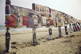 Display of Posters Mounted on Pilings in the Sand  Montauk Point  Long Island  New York  1967