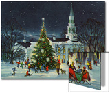 Greeting Card - White Church with Large Tree and People Surrounding Acrylique