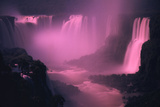 Iquassu (Iguacu) Falls on Brazil-Argentina Border  Once known as Santa Maria Falls  at Twilight