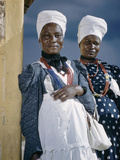 Herero Tribeswomen Wearing Turban and Dangling Earrings  Windhoek  Namibia 1952