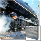 Country/Western Singer Johnny Cash W Guitar by Wheels of a Steam Train