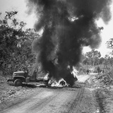 Buring Diesel Truck on the Ledo Road  Burma  July 1944