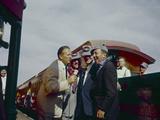 Walt Disney Being Interviewed by Train at Disneyland Anaheim  California 1955