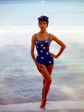 June 1956: Woman in Polka-Dot Swimsuit Modeling Beach Fashions in Cuba