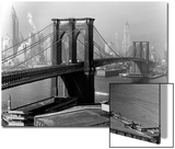 View of the Brooklyn Bridge and the Skyscrapers of Manhattan's Financial District Acrylique par Andreas Feininger