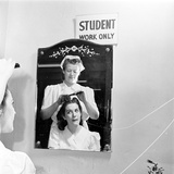 Woman Receiving Curls at a Beauty School  1940S