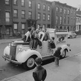 Children Sit on the Ice Cream Truck in Brooklyn