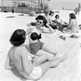 Models Sporting Adhesive Strapless Brassiere Designed by Charles L Langs  Jones Beach  NY  1949