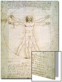 L'Homme de Vitruve, vers 1492 Acrylique par Leonardo Da Vinci