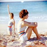 June 1956: Girls in Striped Swimsuit Modeling Beach Fashions in Cuba