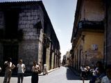 School Children and Passersby on St Ignaco Street in Havana  Cuba