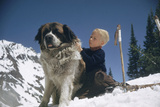 Young Blonde Boy on Skiis with St Bernard Dog at Sun Valley Ski Resort  Idaho  April 22  1947