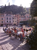 Sidewalk Cafe Sitters Taking in the Evening Sun at Portofino  Italy