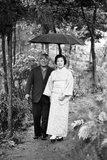 Couple Pose for Portrait in the Rain  Tokyo  Japan  1967