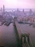 Helicopter View of the Brooklyn Bridge  New York City