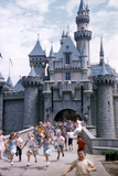 July 17 1955: Sleeping Beauty's Castle Overrun by Children at Disneyland Park  California