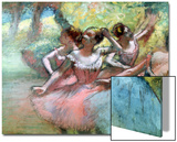 Four Ballerinas on the Stage Acrylique par Edgar Degas