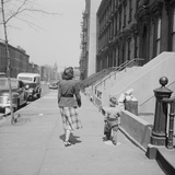 Mother and Son Walking Down Brooklyn Street Together  NY  1949