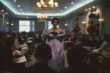 Fashion Model Shows Off a Christian Dior Design to Buyers and Press  New York  New York  1960