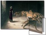 Daniel in the Lions Den, Mezzotint by J. B. Pratt, with Hand Colouring Acrylique par Briton Rivière
