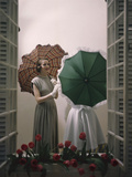Models Posing with Umbrellas in a Macy's Department Store Display  New York  NY  1948