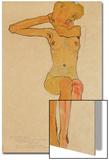 Nu féminin assis au bras droit levé Acrylique par Egon Schiele