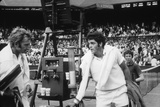 1971 Wimbledon: Australia's Rod Laver (L) and USA Tom Gorman on Centre Court after their Match
