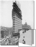View of the Flatiron Building under Construction in New York City Acrylique