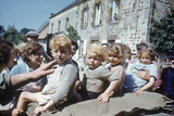 French Children in the Town of Avranches Sitting on Us Military Jeep  Normandy  France  1944