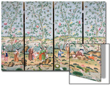 A Set of Four Chinese Painted Wallpaper Panels Depicting Chinese Figures in a Garden with Bamboo