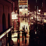 1945: Rainy Night in Times Square with Neon and Billboards  New York  NY