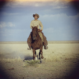 American Actor Rock Hudson Riding a Horse During Filming of 'Giant'  Near Marfa  Texas  1955