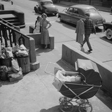 Brooklyn Street Scene  Baby Carriage  Two Women  and a Boy Carrying Dry Cleaning  NY  1949