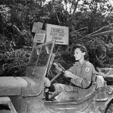 Red Cross Worker Janet Schwerton (Of Newton  Ma) Drives Jeep Along the Ledo Road  Burma  July 1944