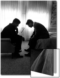 Jack Kennedy Conferring with His Brother and Campaign Organizer Bobby Kennedy in Hotel Suite Acrylique par Hank Walker