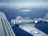Squadron of Us Douglas Sbd-3 Dauntless in Flight as Patrolling Coral Reefs Off Midway Island  1942