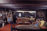 Floating-Home Owner Warren Owen Fonslor with Two Men in His Living Room  Sausalito  CA  1971
