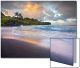 Waves Crashing onto Waianapanapa Black Sand Beach Near Hana  Maui  Hawaii  USA